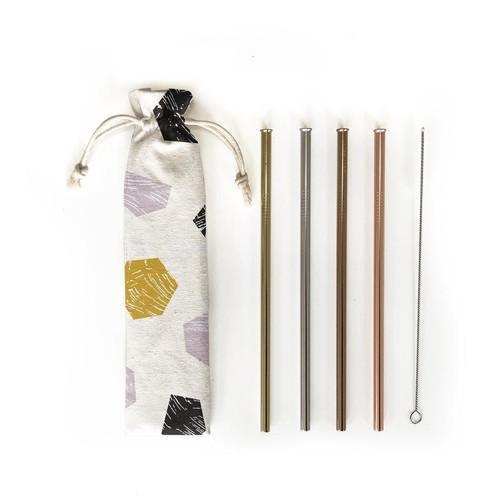 Hali Hali Reusable Straws 6 Piece Set  with Travel Pouch
