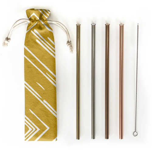 Hali Hali Reusable Straws 6 Piece Set  with Travel Pouch