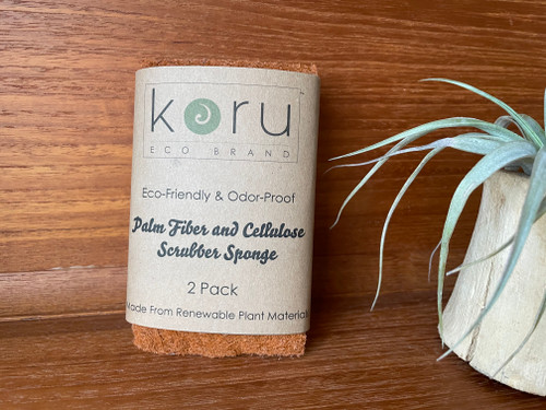 Koru Plant Based Odor Free Scrubber Sponge - Pack of 2 Palm Fiber and Cellulose