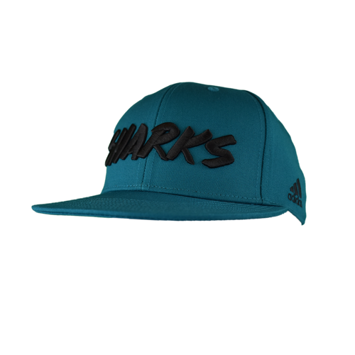 San Jose Sharks Men's  Adidas 100% Flat Brim Adjustable Hat