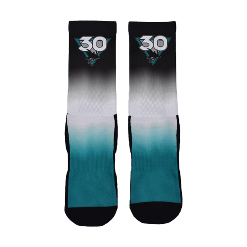 San Jose Sharks 30th Anniversary Dip Dye Sock-Blk-L/XL