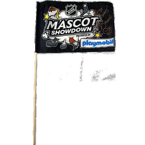 Signed SJ Sharkie 2019 All Star Game Mascot Showdown Stick Flag