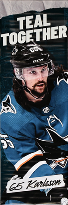 Sharks Teal Together Street Banner - Erik Karlsson