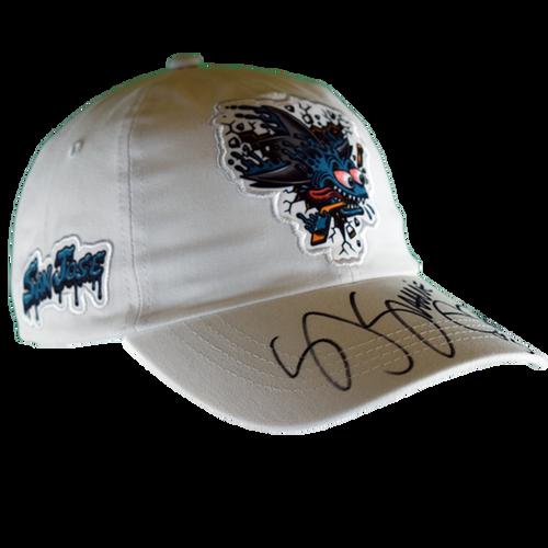"""Sharks """"Shark Freak"""" White Strap Back Hat Signed By SJ Sharkie"""