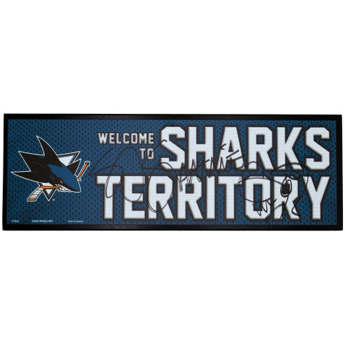 Sharks Territory Wood Plaque Signed By SJ Sharkie