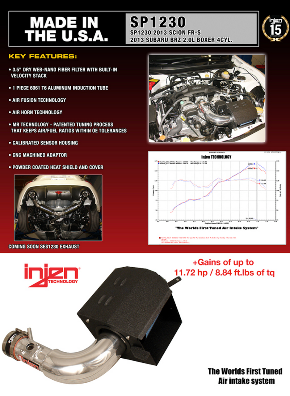 SP1230WR   -Injen Air Intake - SP Series Intake System SUBARU -BRZ -SCION FR-S