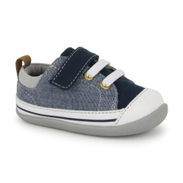 Front-Right Side view of Stevie II (First Walker) Blue Denim shoe