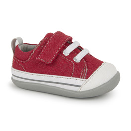 Front-Right Side view of Stevie II (First Walker) Red/Gray shoe