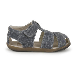 Right Side view of Jude IV Gray Canvas sandal