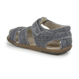 Back-Left Side view of Jude IV Gray Canvas sandal
