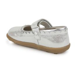 Back-Left Side view of Jane II Silver shoe