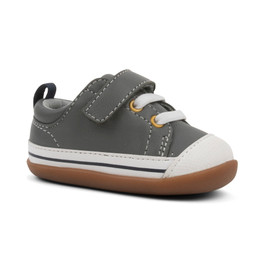 Front-Right Side view of Stevie II (First Walker) Gray Leather shoe