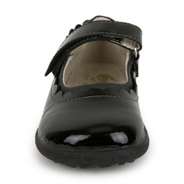 Front view of Jane II Black Patent shoe