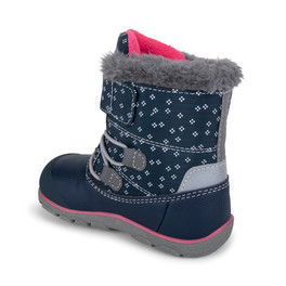 Back-Left Side view of Gilman Waterproof/Insulated Navy Pink boot