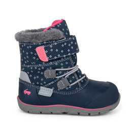Right Side view of Gilman Waterproof/Insulated Navy Pink boot