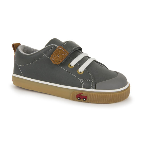 Front-Right Side view of Stevie II Gray Leather Shoe