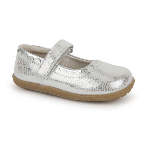 Front-Right Side view of Jane II Silver shoe