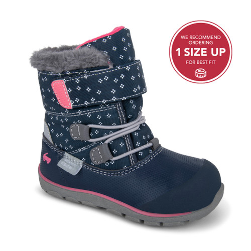 Front-Right Side view of Gilman Waterproof/Insulated Navy Pink boot
