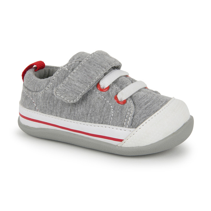 Front-Right Side view of Stevie II (First Walker) Gray Jersey shoe