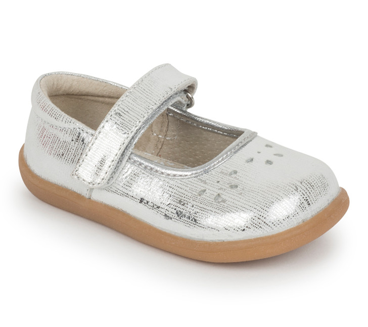 Front-Right Side view of Ginger III Toddler Silver shoe