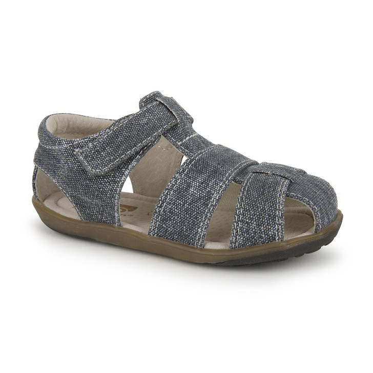 Front-Right Side view of Jude IV Gray Canvas sandal