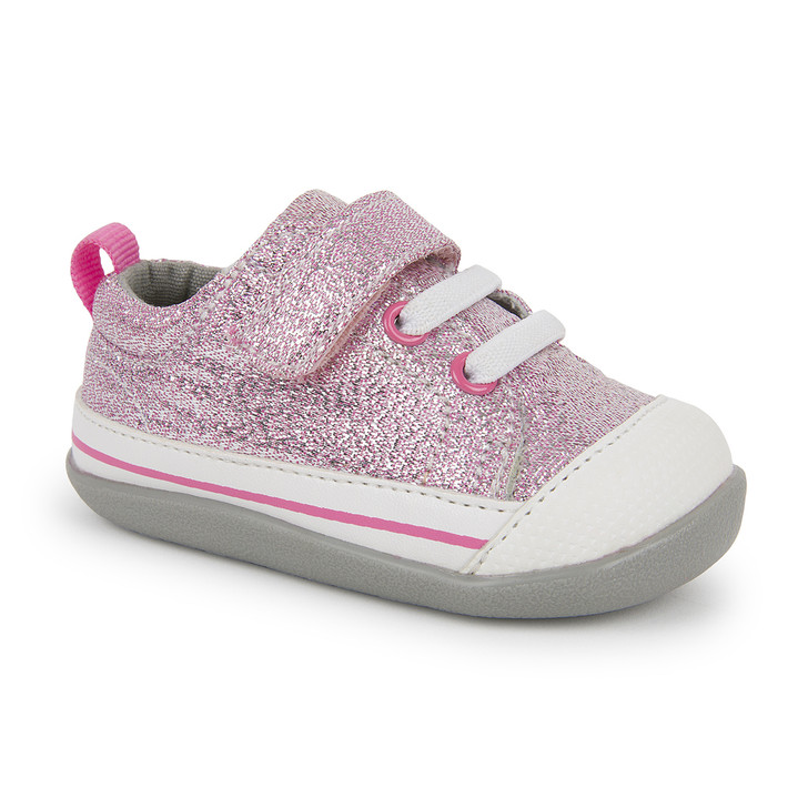 Front-Right Side view of Stevie II (First Walker) Pink Glitter shoe