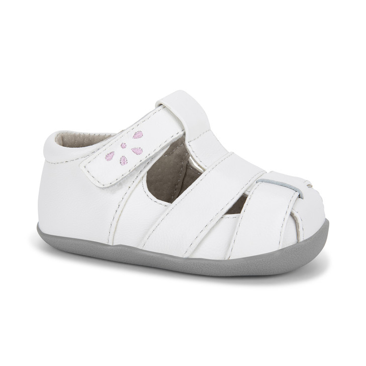 Front-Right Side view of Brook (First Walker) White/Pink Sandal