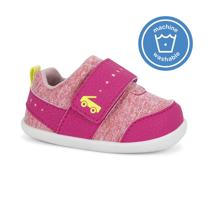 Front-Right Side view of Ryder (First Walker) Hot Pink shoe