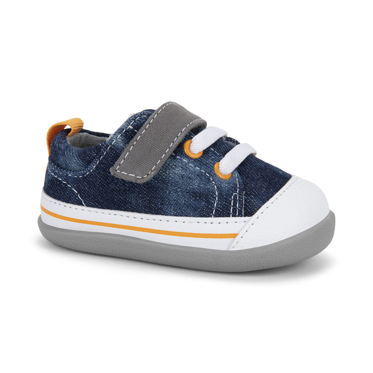 Front-Right Side view of Stevie (First Walker) Washed Denim shoe