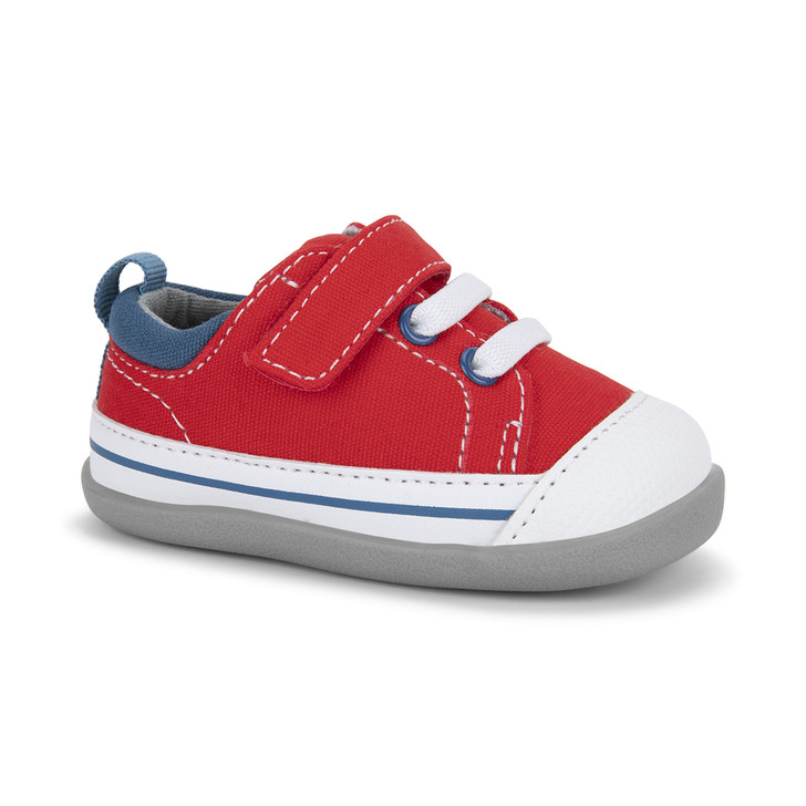 Front-Right Side view of Stevie (First Walker) Red/Blue shoe