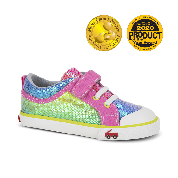 Front-Right Side view of Kristin Rainbow Sequins shoe