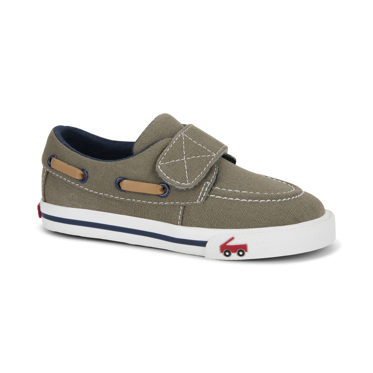 Front-Right Side view of Elias Khaki/Navy shoe