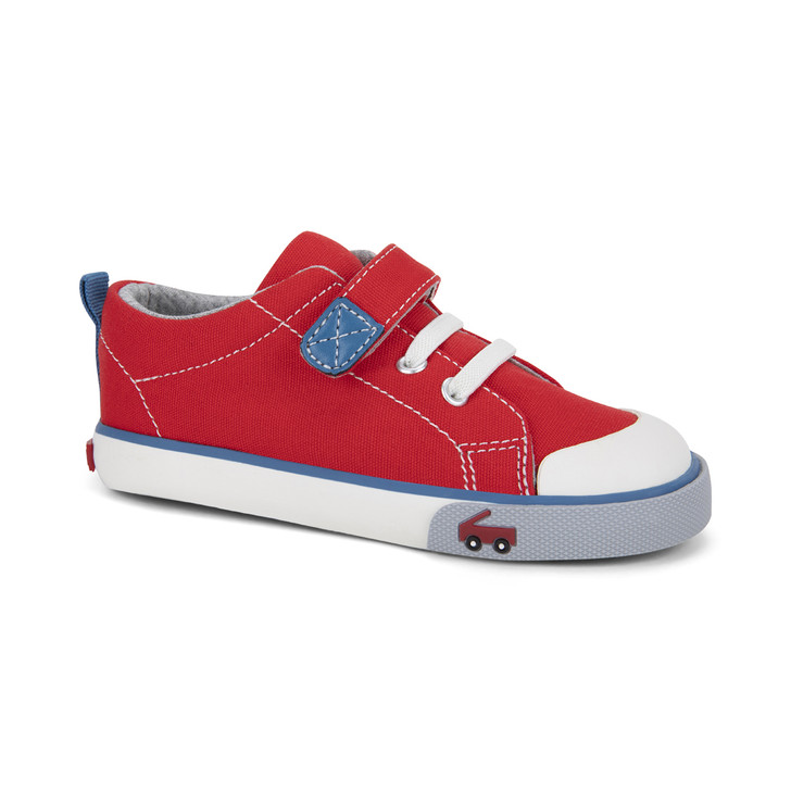 Front-Right Side view of the Stevie Red/Blue shoe
