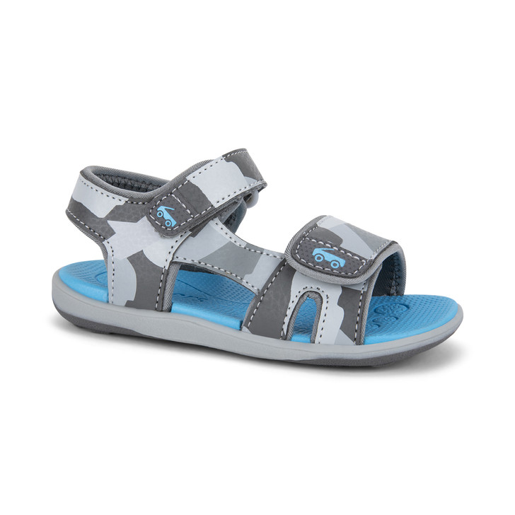 Front-Right Side view of the Jetty Gray Camo sandal