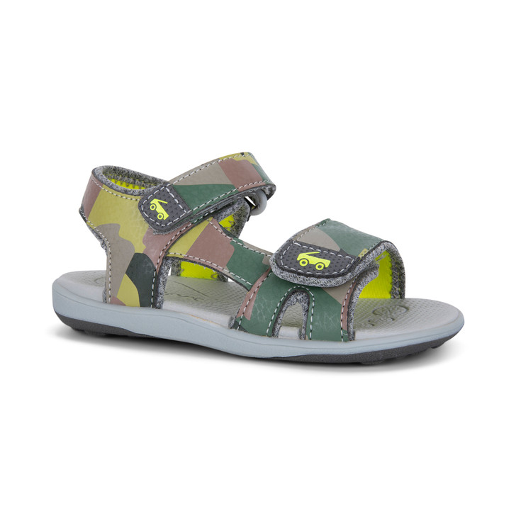 Front-Right Side view of the Jetty Green Camo sandal