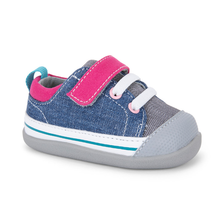 Front-Right Side view of Stevie (First Walker) Blue/Gray shoe