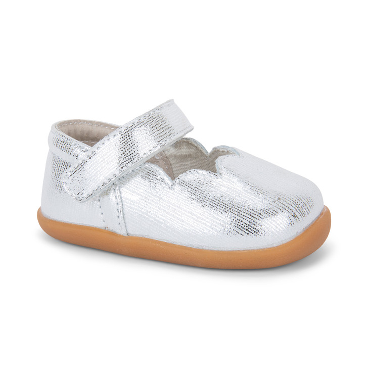 Front-Right Side view of Susie (First Walker) Silver shoe