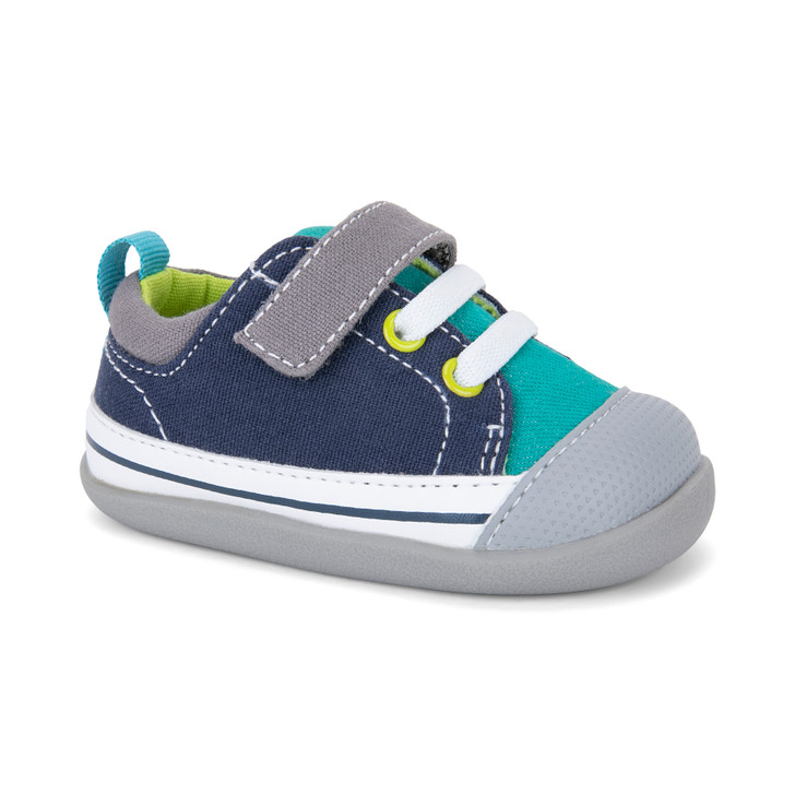 Front-Right Side view of Stevie (First Walker) Teal/Navy shoe