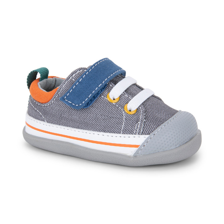 Front-Right Side view of Stevie (First Walker) Gray/Blue shoe