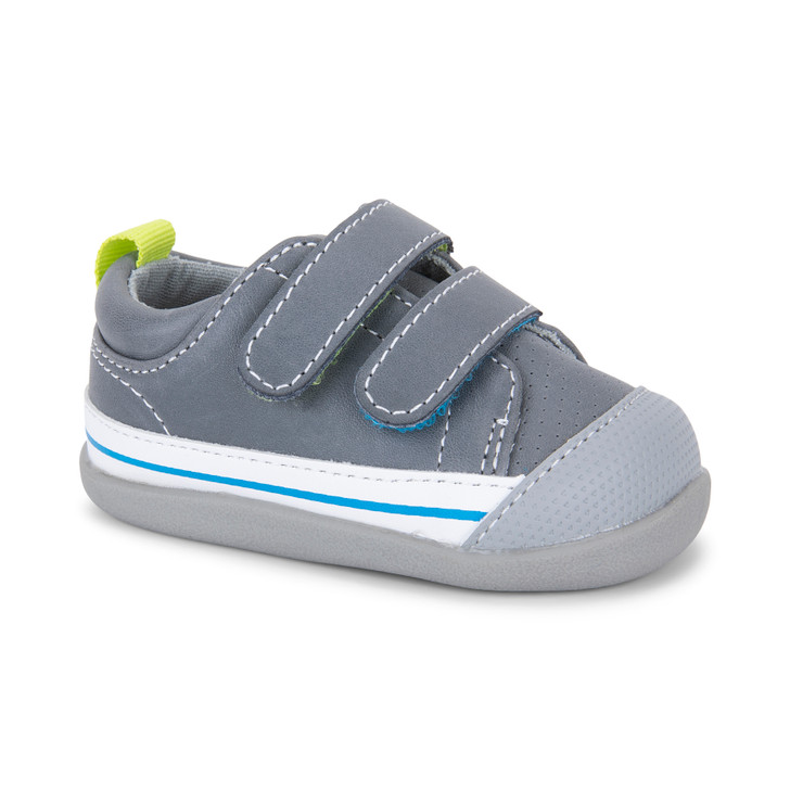 Front-Right Side view of Waylon (First Walker) Gray Leather shoe