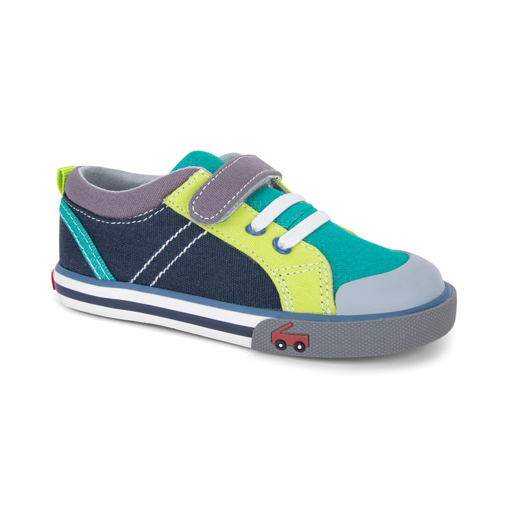 Front-Right Side view of the Tanner Teal/Navy shoe