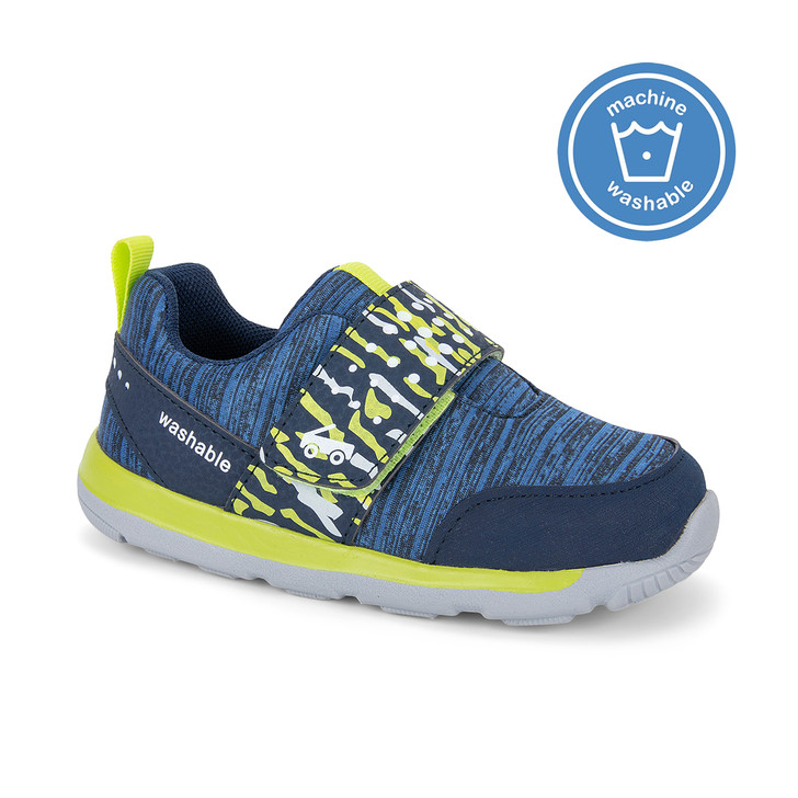 Front-Right Side view of the Ryder Navy/Lime shoe