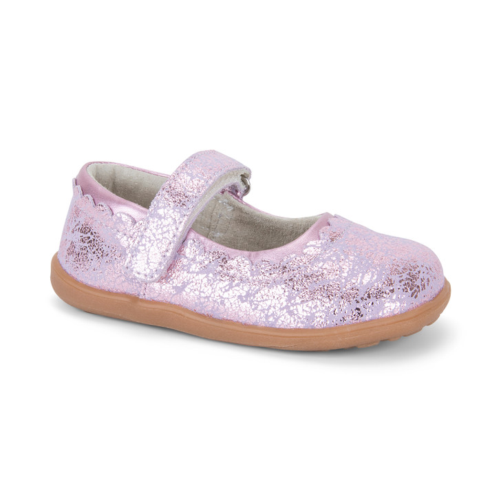 Front-Right Side view of Jane Pink Metallic Shoe