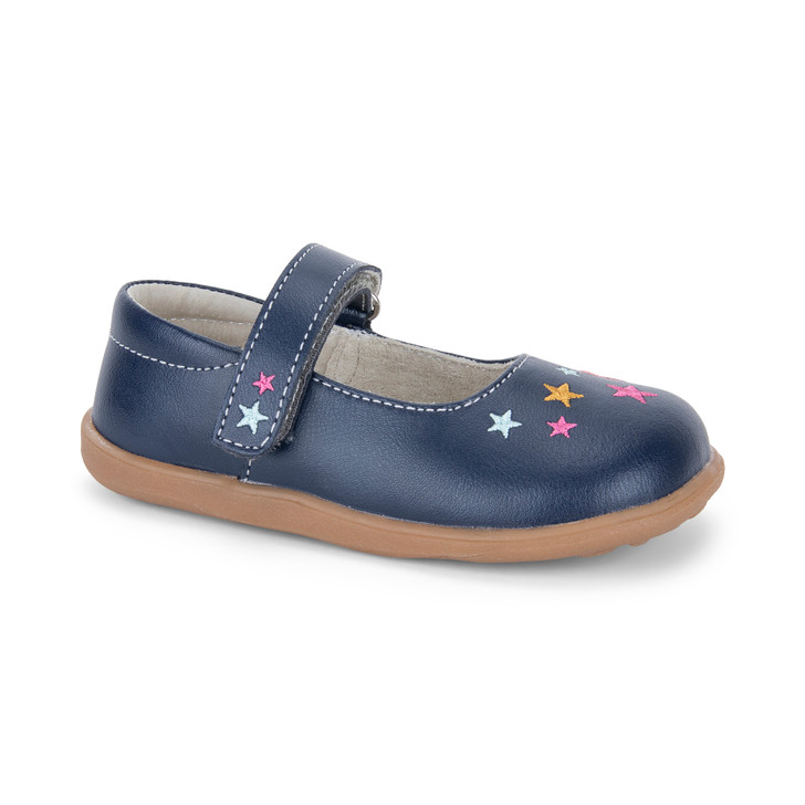 Front-Right Side view of Ginny Navy/Stars Shoe