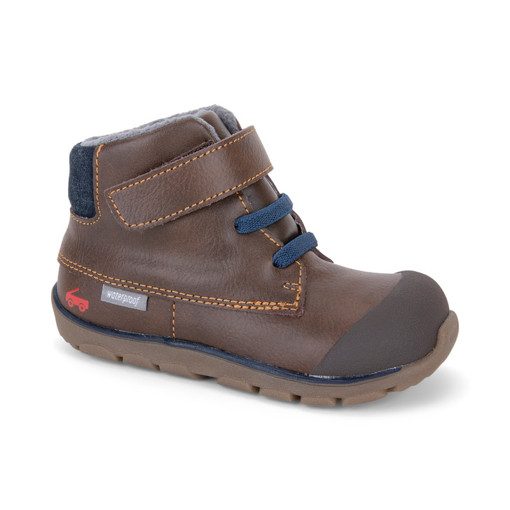 Front-Right Side view of the Lennon Waterproof Brown Leather Boot