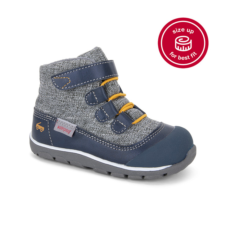 Front-Right Side view of the Sam Waterproof Navy/Gray Boot