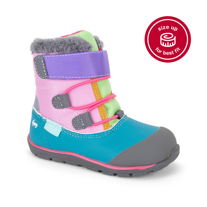 Front-Right Side view of Gilman Waterproof/Insulated Pink/Teal Boot