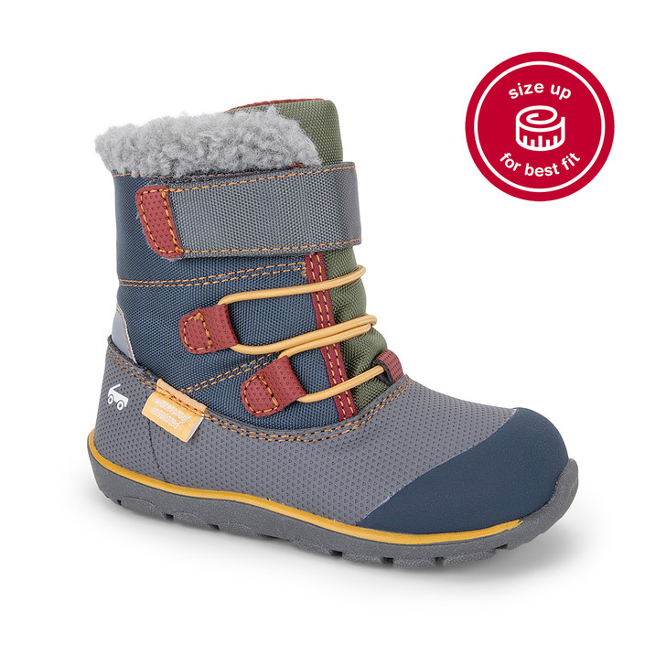 Front-Right Side view of Gilman Waterproof/Insulated Gray/Blue Boot