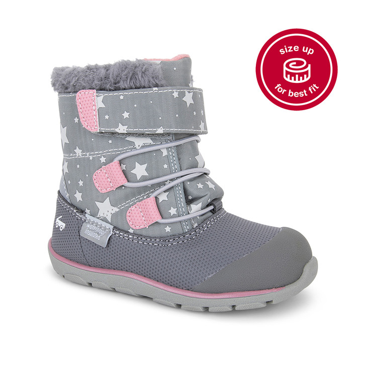 Front-Right Side view of Gilman Waterproof/Insulated Gray/Stars Boot