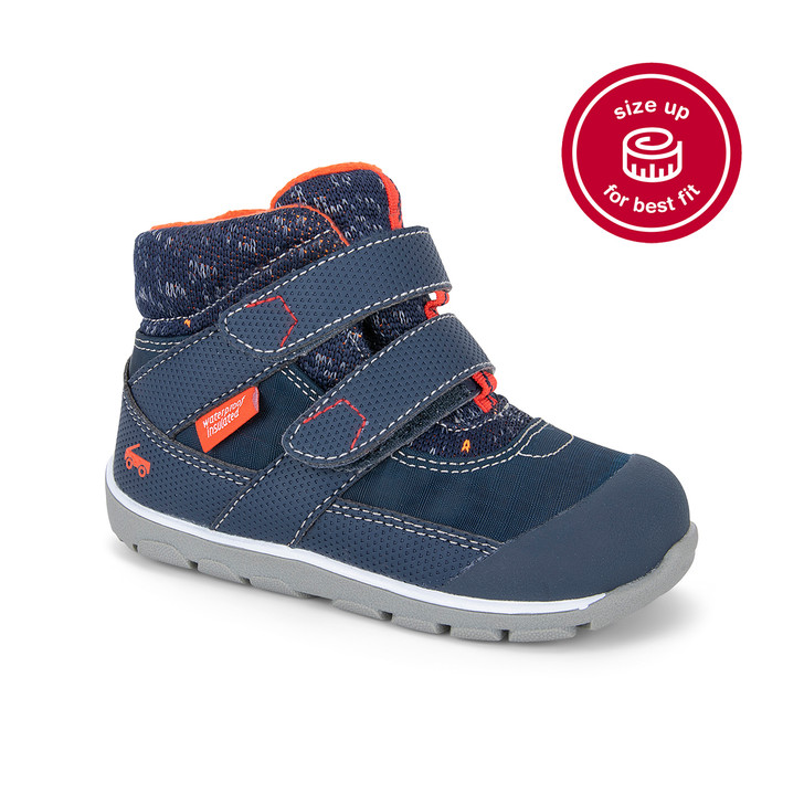Front-Right Side view of Atlas Waterproof/Insulated Navy/Red Boot